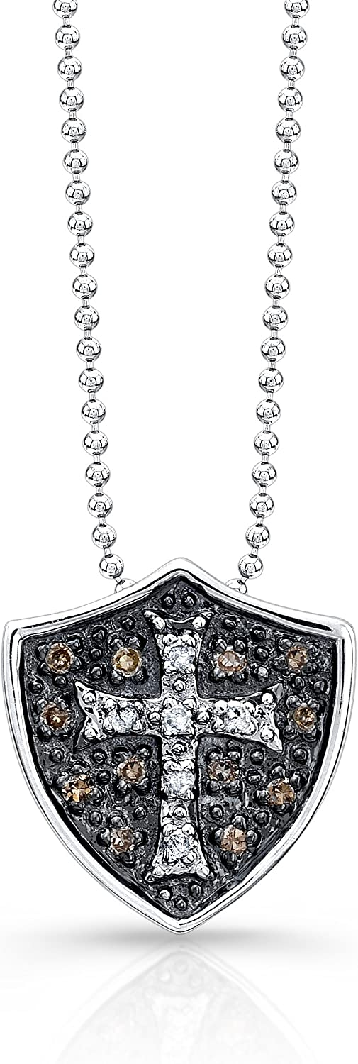 Victoria Kay 1 8ct TDW White and Brown Diamond Cross and Shield Pendant in Sterling Silver, 18