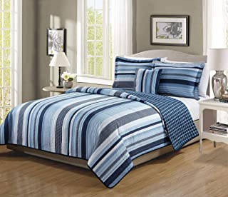 Full Size 4pc Bedspread Set for Boys/Teens Stripes Plaid Navy Blue White Light Blue New