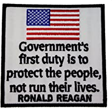 Ronald Reagan Government's First Duty Protect People Embroidered Shoulder Patch D2