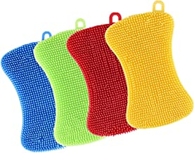 Kitchen Silicone Dish Sponge 4 Pack,TERSELY Anti-Bacterial Cleaning Scrubber Pot Holder Multipurpose Dish-Washing Mildew F...
