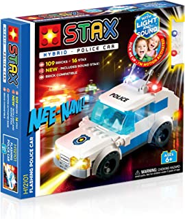 Light Stax Hybrid Light and Sound Flashing Police Car Building Bricks and Stax Set - H12101 - 109 Pieces
