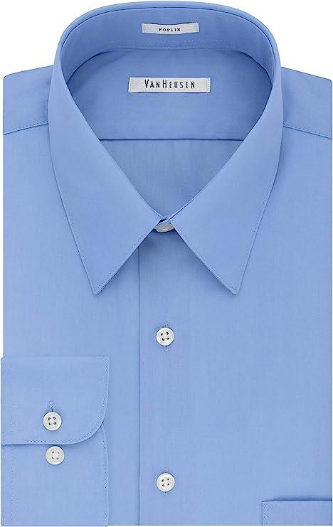 1920s Men's Shirts and Collars History Van Heusen Mens Dress Shirt Regular Fit Poplin Solid  AT vintagedancer.com