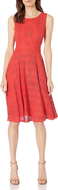 Gabby Skye Women's Solid Crochet Lace A-line Dress