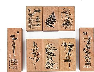 Cliocoo 8pcs Plants Rubber Stamp Set, Eucalyptus, Daisy, Fern, Gypsophila, Cotton Flower, M-73
