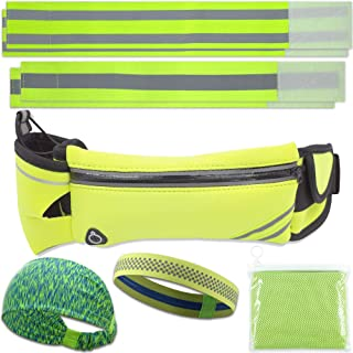 Night Running Gear 5 in 1 Accessories Bundle, Exercise Belt with Water Bottle Holder, Key Belt Keeper, Reflective Fabric Wristbands, Reflector Ankle Tape, Adjustable Workout Sweatband, Neck Towel