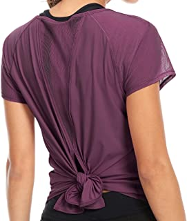 QUEENIEKE Womens Yoga Tops Tied Up Mix & Mesh Short Sleeve T-Shirt Sports Tee Top