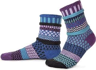 Solmate Socks - Mismatched Crew Socks; Made in USA; Raspberry Medium