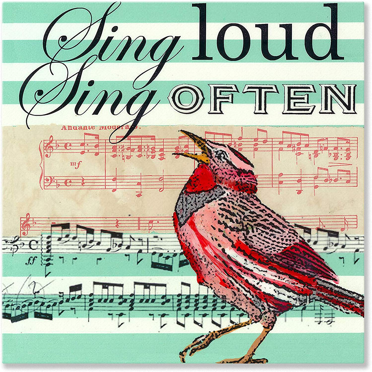 Oopsy Daisy Sing Loud Sing often Stretched Canvas Wall Art by Shelly Kennedy, 14 by 14Inch