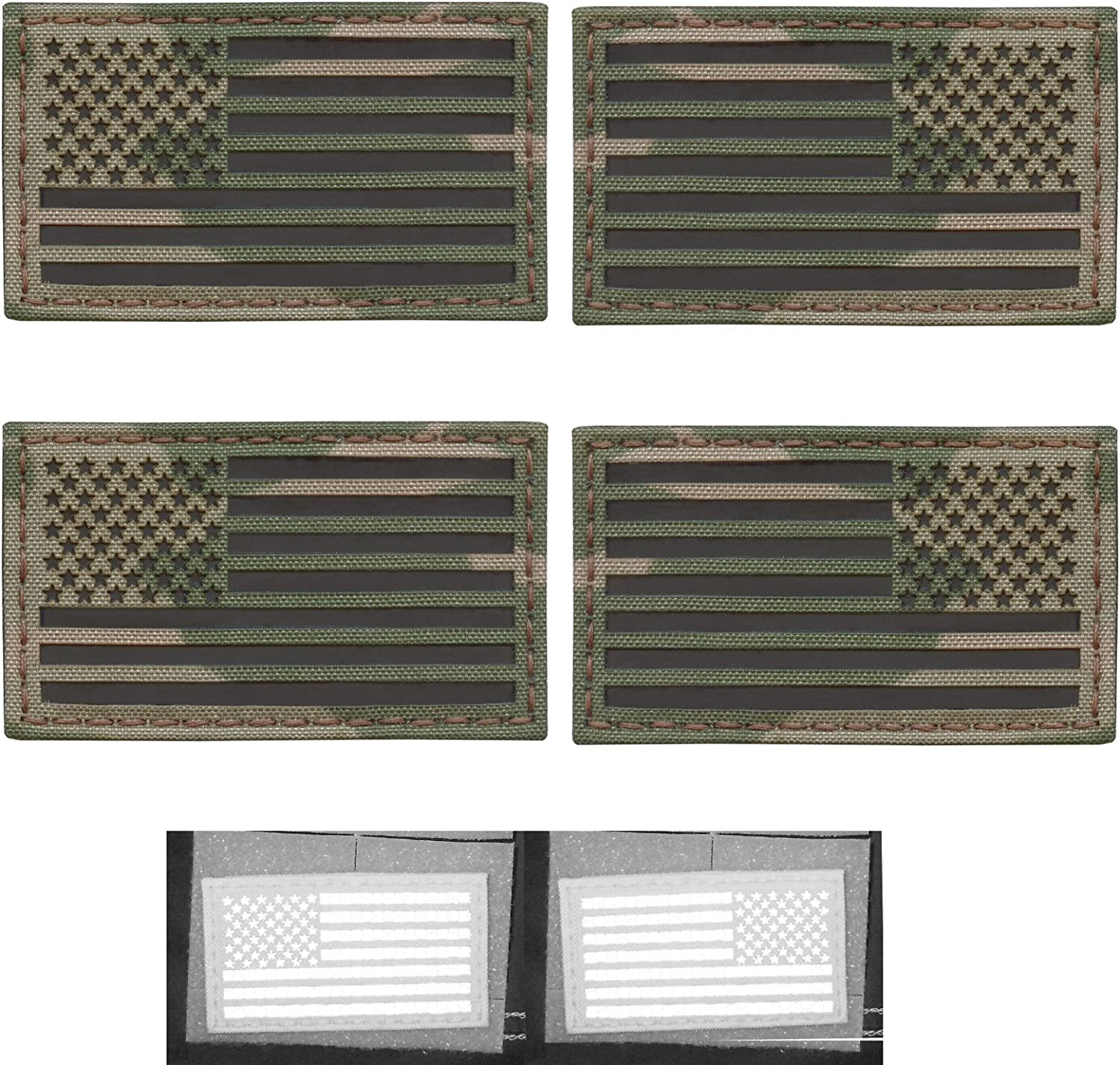 Bundle Set of 4 Multicam Infrared IR USA American Flags Forward and Reversed 3.5x2 Morale Fastener Patches