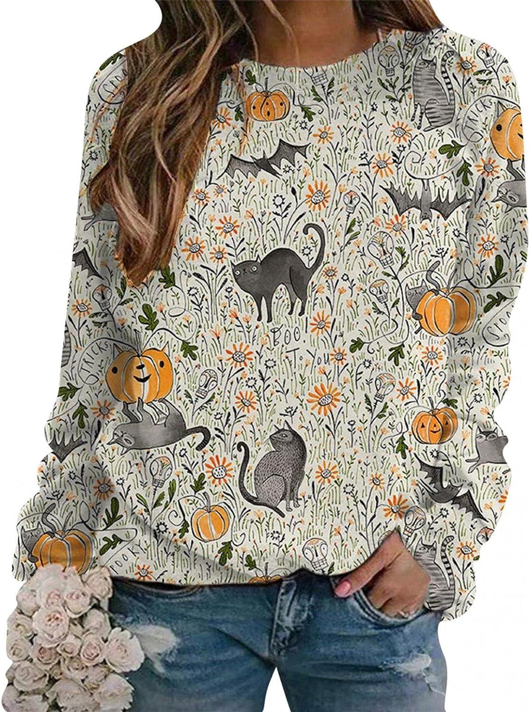 Masbird Halloween Sweatshirts for Women, Womens Long Sleeve Pumpkin Printted Oversized Sweatshirts Loose Pullover Tops