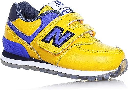 NEW BALANCE - Scarpa ginnica 574 gialla e blu, in pelle e tessuto ...