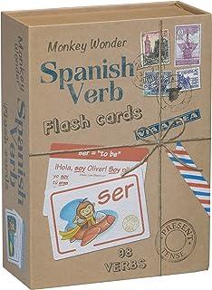 بطاقات فلاش إسبانية من Monkey Wonder - تعلم اللغة الإسبانية مع 98 أفعال محددة ومُقترنة بالكامل ، للأطفال والكبار