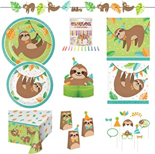 Olive Occasions Sloth Happy Birthday Party Kit 16 Dinner Plates, 16 Cake Plates, 16 Lunch Napkins 16 Beverage Napkins, Banner, Table Cover, Treat Bags, Photo Props, Centerpiece, 12 Candles, Recipe
