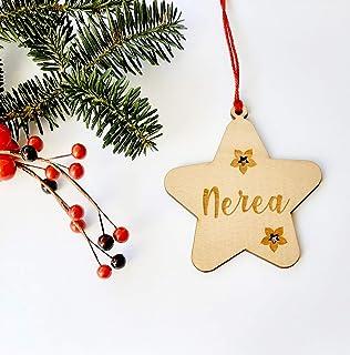 Estrellas de Navidad de madera de haya personalizadas ornamento para el árbol de Navidad
