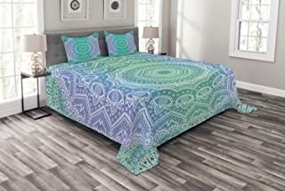 Ambesonne Ethnic Bedspread, Traditional Mystical Oriental Mandala Yantra Geometry Pattern, Decorative Quilted 3 Piece Coverlet Set with 2 Pillow Shams, Queen Size, Green Purple