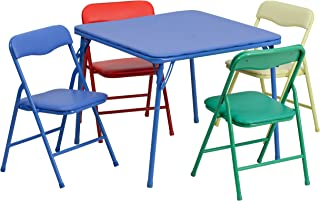 Flash Furniture Kids Colorful 5 Piece Folding Table and Chair Set – JB-9-KID-GG