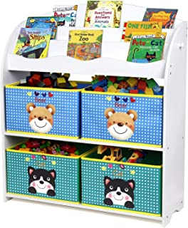 Homfa Estantería para Juguetes Libros Librería Infantil Organizador para Niños con 4 Cajas 3 Estantes 82.5x29.5x97.5cm