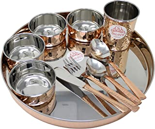 SKAVIJ Copper Dinnerware Platter Thali Set with Cup, Bowls, Spoons, Fork and Knife Diameter-12 Inch