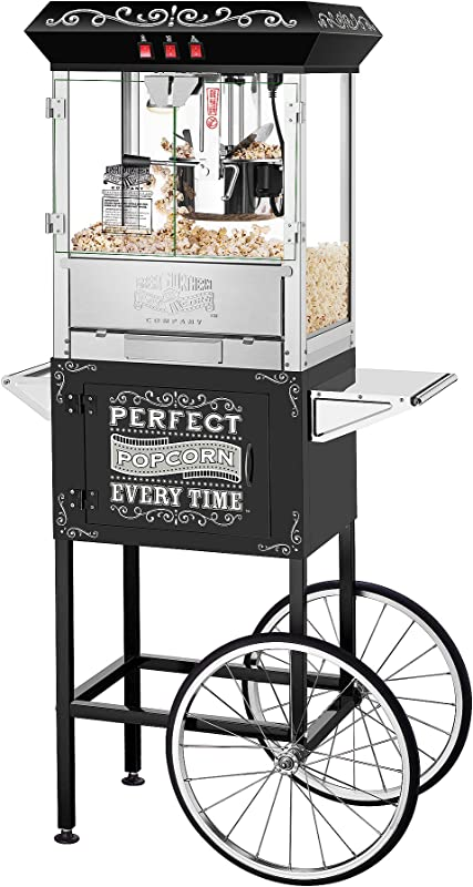 5996 Great Northern 10 Oz Perfect Popper Machine With Cart Black Makes 12 Quarts
