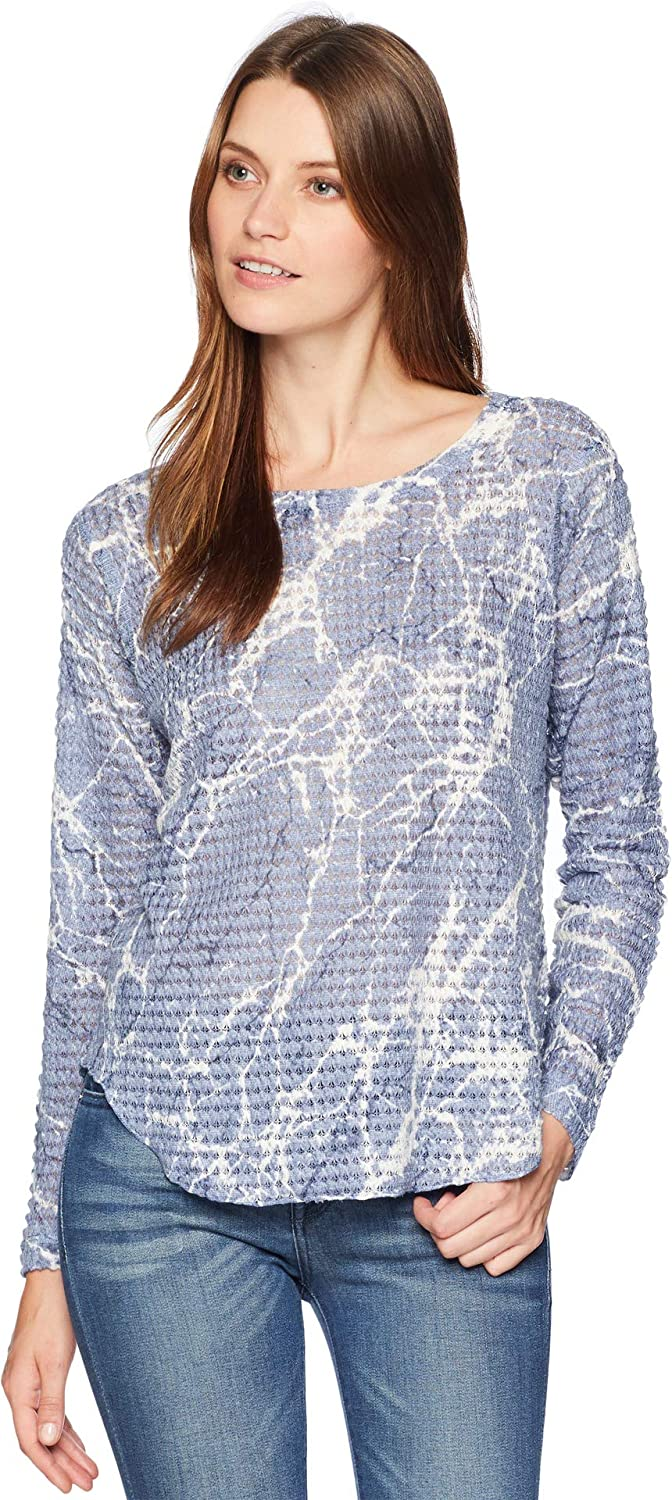 Nally & Millie Womens Long Sleeve Marble Print Waffle Top