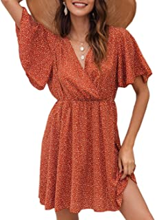 Women's Short Sleeve V Neck All Over Print High Waist A Line Summer Short Dress