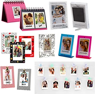Instax Photo Gift Pack for Fujifilm Instax Mini Film, Set Includes 5 Picture Frames, Pink Album, 3 Magnets, Glitter Frame Magnet, and Photo Clip String Lights
