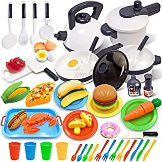 GJOF2YK Kids Kitchen Toy Cookware with Play Food Toy Set,Kitchen Play Accessories with Pots and Pans,Cutting Food Toy Uten...
