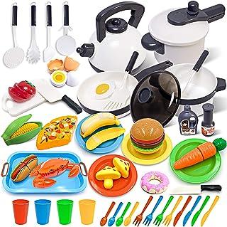 وسایل آشپزخانه آشپزخانه بچه گانه GJOF2YK با ست اسباب بازی غذایی ، لوازم جانبی بازی آشپزخانه با گلدان و تابه ، ظروف اسباب بازی برش خوراکی ، هدیه اسباب بازی های یادگیری ظروف برای دختران پسر بچه های نوپا (72 عدد)