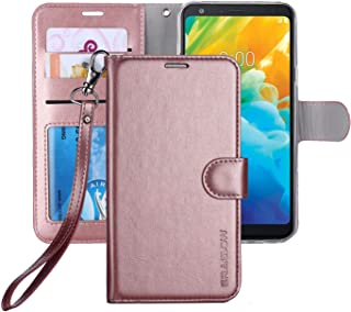 ERAGLOW LG Stylo 4 Case, LG Q Stylus Case,Stylo 4 + Plus [Wrist Strap] Luxury PU Leather Wallet Flip Protective Case Cover with Card Slots and Stand for LG Stylo 4/LG Q Stylus(Rose Gold)