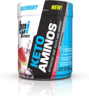 BPI Sports Keto Aminos – 7g Essential Amino Acid Powder – BHB Salts, MCTs – Burn Fat for Fuel, Muscle Growth, Recovery, Strength – Men & Women – Watermelon Ice – 30 Servings – 1.32 lbs