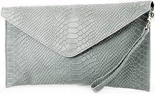 modamoda de T106S - ital Clutch aus Leder in Schlangenoptik