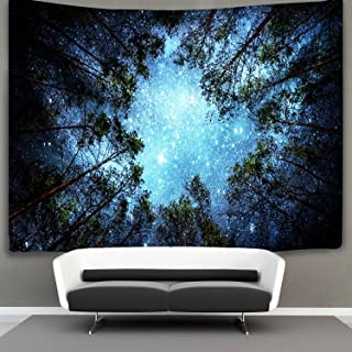BLEUM CADE Starry Wall Galaxy Tapestry, Home 3D Forest Tapestry Forest Sky Tapestry, Living Room Bedroom Decoration Tapestry, Mattress, Tablecloth (Forest Stars, 59.1