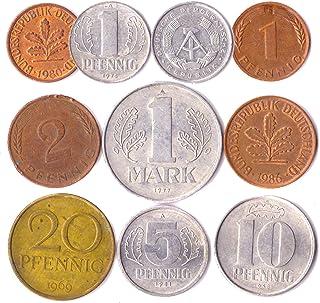10 عملات ألمانية من شرق وغرب أوروبا: بفينيغ ، مارك 1948-2001. اختيار مثالي لبنك العملات الخاص بك وحاملي العملات المعدنية و...