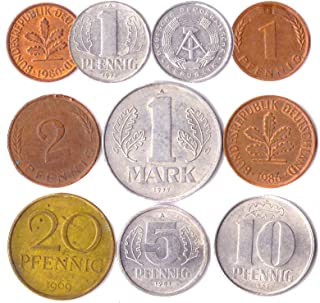 Hobby of Kings 10 Germany Coins from East and WEST Europe: Pfennig, Mark 1948-2001