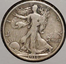 1918 S Walking Liberty 90% Silver Half Dollar VG and Better Full Rim and Full Date US Mint