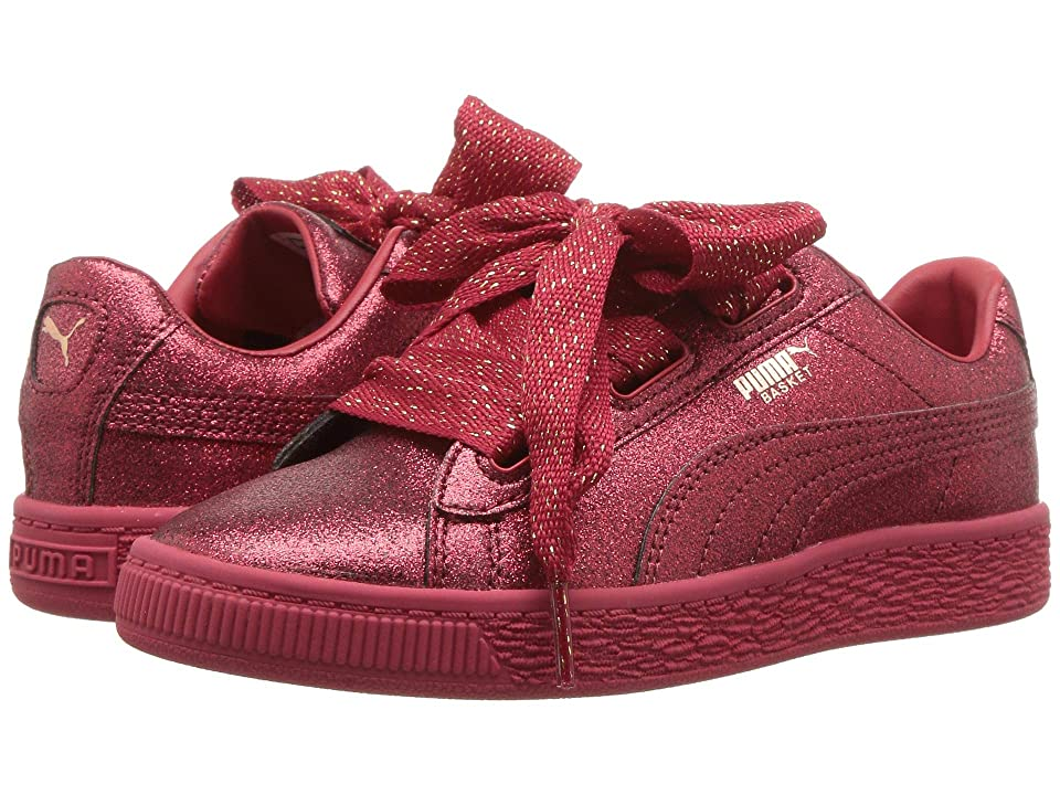 Puma Kids Basket Heart Holiday Glamour PS (Little Kid) (Ribbon Red/Rose Gold) Girls Shoes