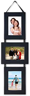 MyBarnwoodFrames - Lightly Distressed Collage Set of 3, 5 x 7 Wood Picture Frames on Hanging Ribbon, Black (Portrait-Landscape-Portrait)