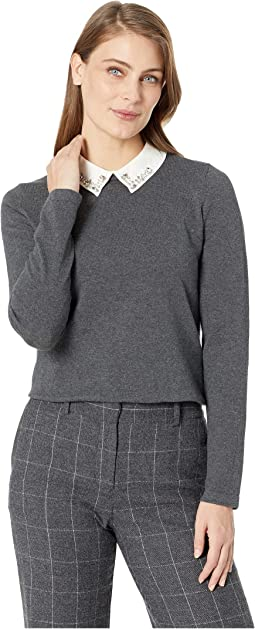 Long Sleeve Embellished Collar Sweater