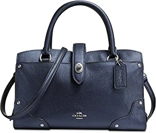 Mercer 24 Pebbled Grain Leather Satchel Handbag in Metallic Midnight Blue