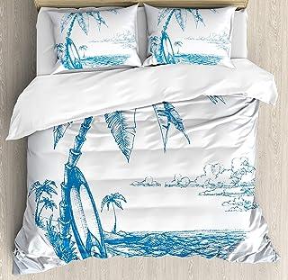 Juego de funda nórdica Surf 3 PCS, Ilustración de boceto contemporáneo Hawaiian Beach con tablas de surf Palms y Ocean Water, Juego de cama Edredón Colcha para niños / adolescentes / adultos / niños,