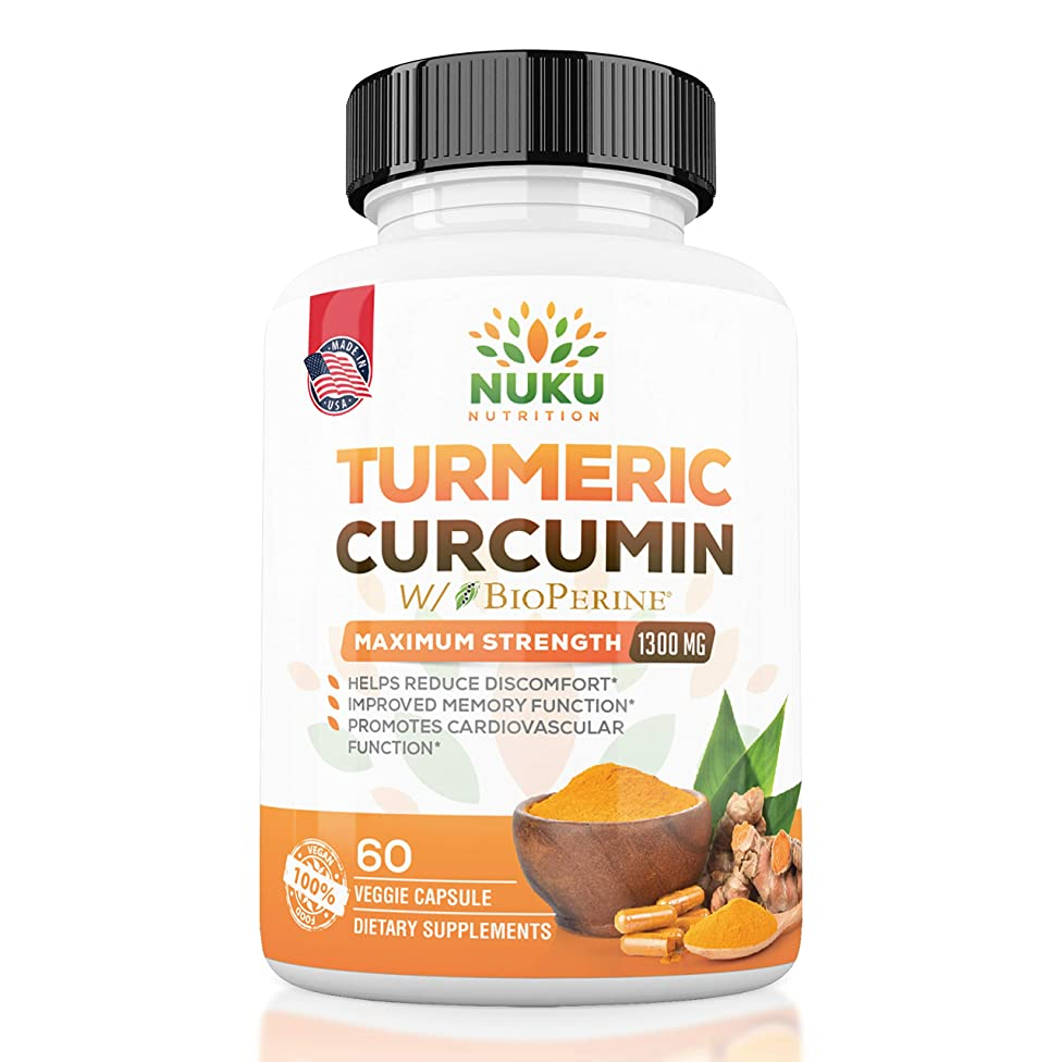 Lowest Price | Turmeric Curcumin with BioPerine Maximum Strength 1300mg - Joint Support, Pain Relief, Antioxidant & Anti-Aging Supplement. Non-GMO, Made in USA with 95% Curcuminoids. | Nuku Nutrition