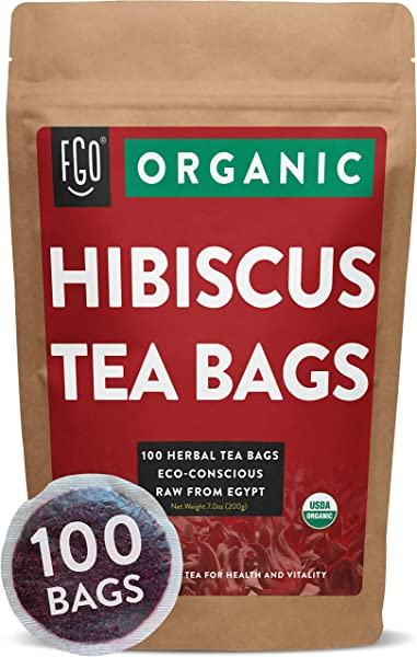 Organic Hibiscus Tea Bags 100 Tea Bags Eco Conscious Tea Bags In Foil Lined Kraft Pouch Raw From Egypt By FGO