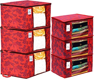Heart Home Metallic Printed Non Woven 3 Pieces Saree Cover and 3 Pieces Underbed Storage Bag, Cloth Organizer for Storage, Blanket Cover Combo Set (Red) - CTHH17933