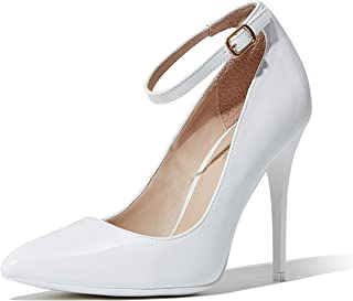 DailyShoes Women's Classic Ankle Strap Stiletto Pointed Toe Paris-02 High Heel Dress Pump Shoes
