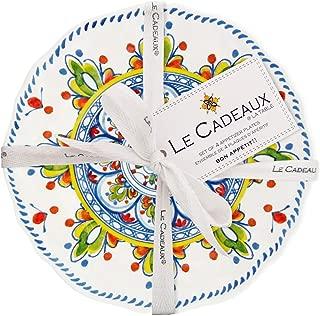 Le Cadeaux Madrid White Melamine Appetizer Plates, (Set of 4)