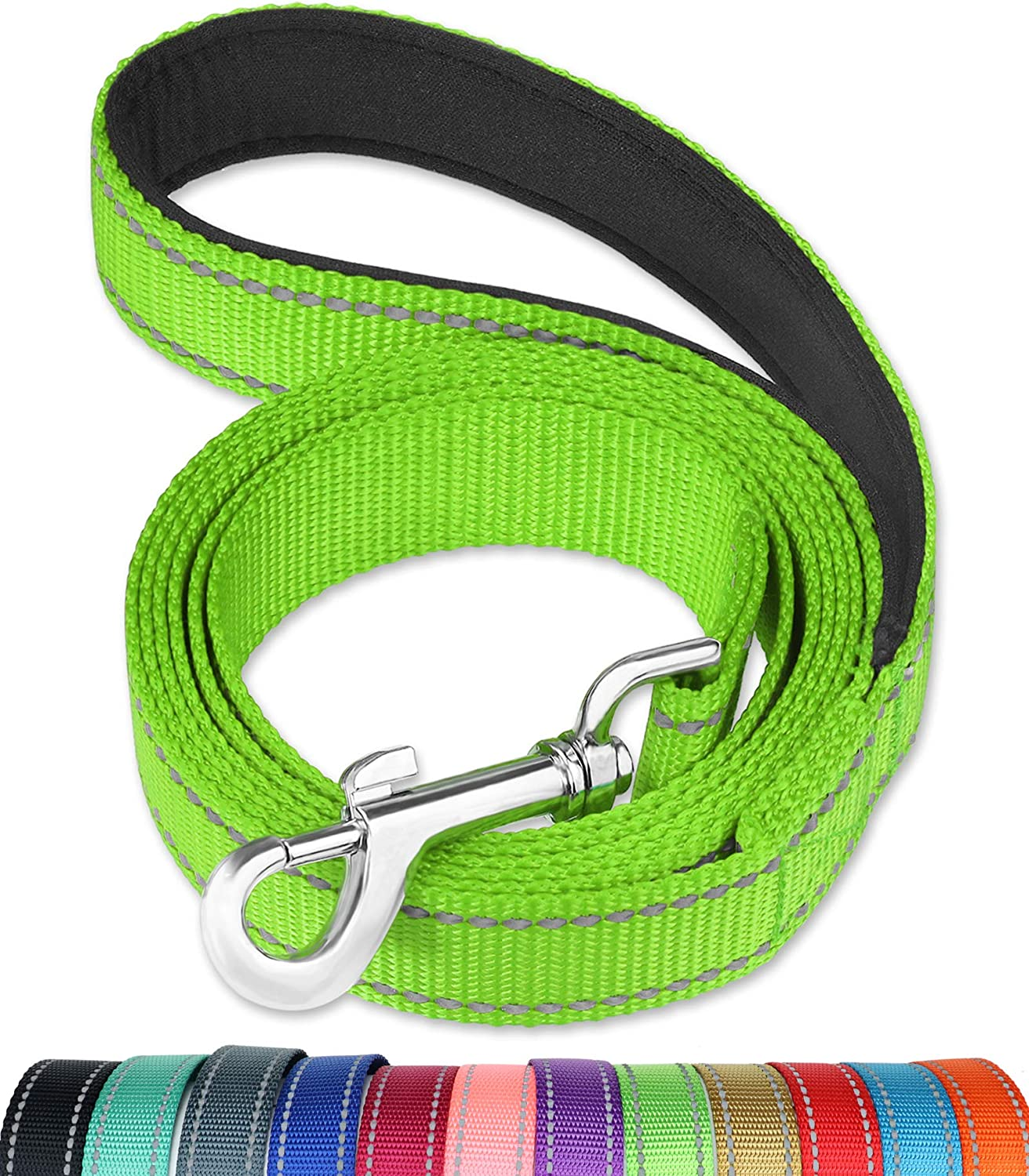 FunTags 6FT Reflective Dog Leash with Soft Padded Handle for Training,Walking Lead for Large & Medium Dog,1 Inch Wide,Green : Pet Supplies