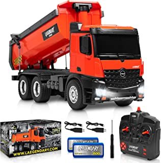1:14 Scale Large Remote Control Dump Truck for Boys and Adults – Compatible with Excavator RC Construction Vehicles - 10 Channel Full Functional – Metal and Plastic Parts – 2 Batteries & 2 Chargers
