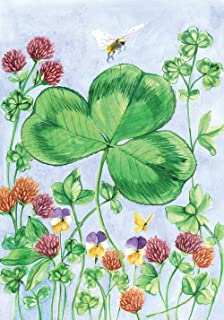 Toland Home Garden Clover and Bee 28 x 40 Inch Decorative St Patrick's Day Shamrock Spring House Flag