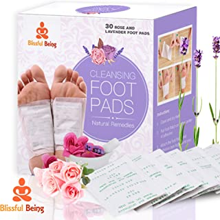 Blissful Being Bamboo Vinegar Foot Pads (30 Patches) Cleanse Naturally   Promotes Pain Relief, Sleep   Lavender and Rose Aroma