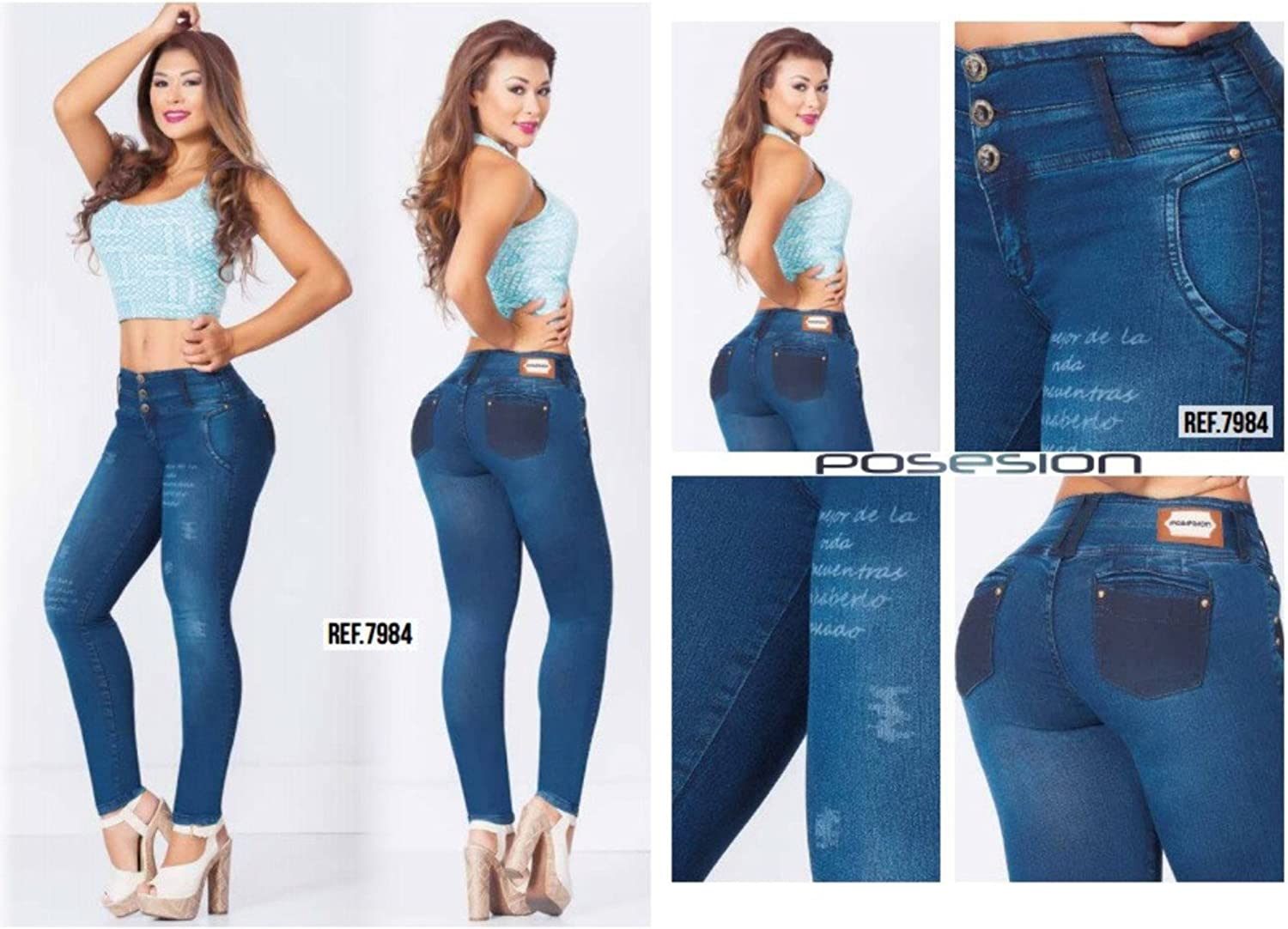 bluee Denim 100% Authentic Colombian Push Up Jean 7984 by Posesion